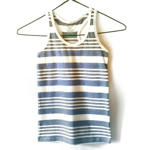 Girl's Fitted Racer Back Tank, Blue White Striped